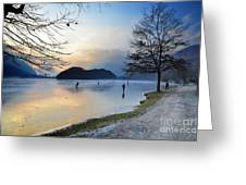 Lake With Ice Greeting Card