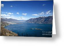 Lake With Islands And Snow-capped Mountain Greeting Card