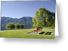 Lakefront With Mountain Greeting Card