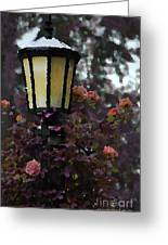 Lamp And Roses Greeting Card