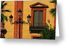 Lamp And Window In Sevilla Spain Greeting Card