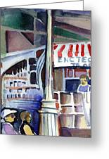 Lamp Post In The Cafe Greeting Card by Mindy Newman
