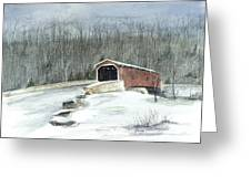Lancaster County Covered Bridge In The Snow  Greeting Card