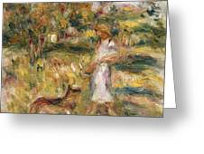 Landscape With A Woman In Blue Greeting Card