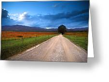 Lane Across Valley Greeting Card