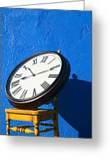 Large Clock On Yellow Chair Greeting Card