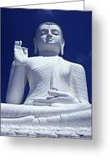 Large Seated White Buddha Greeting Card