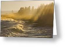 Large Waves Lightbeams Pemaquid Point Maine Greeting Card