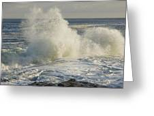 Large Waves On Rocky The Coast Maine Greeting Card