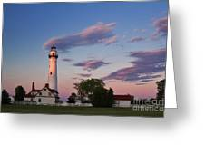 Last Light Of Day At Wind Point Lighthouse - D001125 Greeting Card