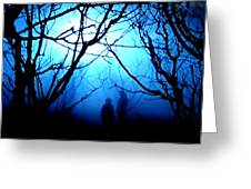 Late Full Moon Walk In The Wild Forest Greeting Card