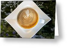 Latte With A Leaf Pattern Greeting Card by Jaak Nilson