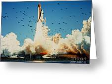 Launch Of Space Shuttle Challenger 51-l Greeting Card