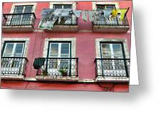Laundry And A Pink Building  Lisbon Greeting Card