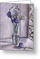 Lavender Flowers In A Glass Vase With Glass Block Window Greeting Card