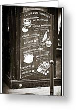 Le Grand Bistrot Menu Greeting Card by John Rizzuto