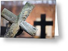 Leaning Cross At Cemetery Greeting Card