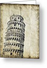 Leaning Tower Of Pisa On Old Paper Greeting Card by Setsiri Silapasuwanchai