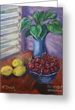 Leaves Cherries And Lemons Greeting Card