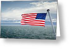 Leaving The Olympics Stars And Stripes On The Straits From The Olympic Mountains Greeting Card