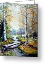 Leaving The Woodland Creek  Greeting Card