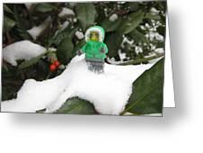 Lego Mini Eskimo In Holly  Greeting Card
