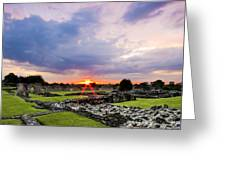 Lesnes Abbey Ruins Sunset Greeting Card