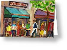 Lester's Deli Montreal Cafe Summer Scene Greeting Card