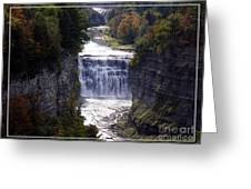Letchworth State Park Middle Falls With Watercolor Effect Greeting Card