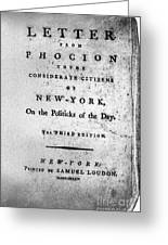 Letter From Phocion, 1784 Greeting Card