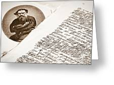 Lev Tolstoy And His Handwriting Notes Greeting Card