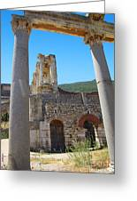 Library Of Celsus And Columns Greeting Card
