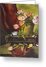 Library Table With Tulips Greeting Card