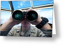 Lieutenant Uses Binoculars To Scan Greeting Card by Stocktrek Images