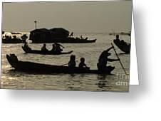 Life On Lake Tonel Sap Greeting Card