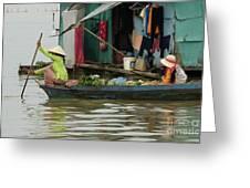 Life On Lake Yonle Sap 9 Greeting Card