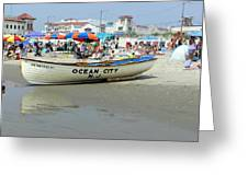 Lifeguard Boat At Ocean City Boardwalk New Jersey Greeting Card