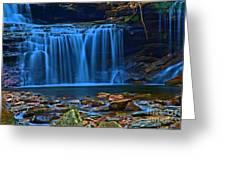Light Blue Falls Greeting Card