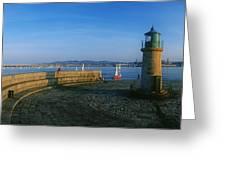Light House At A Harbor, County Dublin Greeting Card