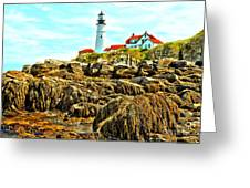 Light Over The Rocks Greeting Card
