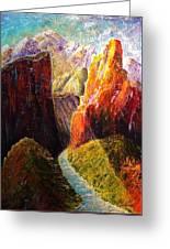 Light Through The Canyon Greeting Card