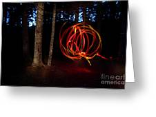 Light Writing In Woods Greeting Card