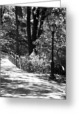 Lighted Bridge In Black And White Greeting Card