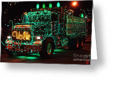 Lighted Green Dumptruck Greeting Card