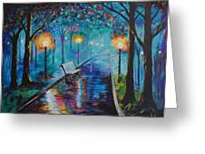 Lighted Park Path Greeting Card