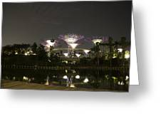 Lighted Supertrees Of The Gardens By The Bay In Singapore Greeting Card
