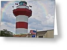Lighthouse And Rainbow Greeting Card