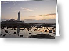 Lighthouse At Low Tide Greeting Card
