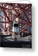 Lighthouse Atop Fort Point Next To The San Francisco Golden Gate Bridge - 5d18999 Greeting Card by Wingsdomain Art and Photography