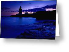 Lighthouse Beacon At Night Greeting Card
